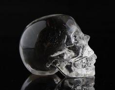 TOP CLEAR Natural Quartz Rock Carved Crystal Skull