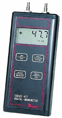 "Dwyer Series 477 Handheld Digital Manometer, 0-1.000""WC Range, FM Approved"