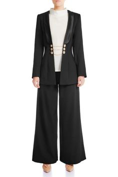 Elegant, classy and luxurious. This wool blazer is lined in smooth silk-satin, center font engraved chained-buttons and padded shoulders for a sharp silhouette. Signature Collection, Mulberry Silk, Wide Leg Trousers, Silk Satin, Night Out, Fitness Models, Women Wear, Classy, Victoria