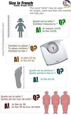 La taille en français / Size in French
