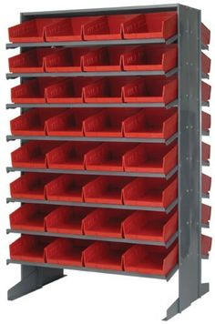 Pick Rack Double Sided 24 x 36 x 60, 16 Shelves, 64 QSB107 RED Bins 12 x 8 by Quantum. $829.74. . Comes complete with economical shelf bins. Available as bench units, single and double sided free standing and mobile units. Reinforced edges for added strength, waterproof, imprevious to most chemicals and unaffected by grease or oil. All-in-one unit that is easy to clean and will not rust or corrode.Convenient high density, easy access, sloped-shelving system. Comes complete w...