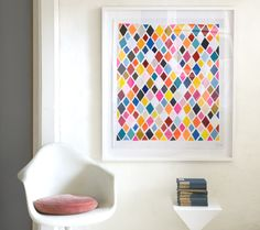 Simple space can be brought alive with brightly coloured geometric artwork