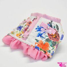 Pettorina chanel a fiori con ruches e profili color rosa