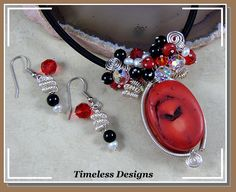 Charms....lots of different charms with a big chunk of red coral pendant.