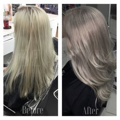 Platinum blonde silver hair gray hair balayage