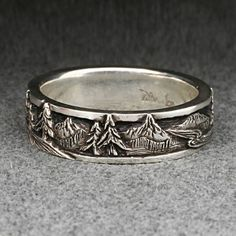 This is ultimate landscape band in my series of the same. A band with some extremely detailed carving of mountain peaks, pine trees, and mountain Custom Jewelry, Jewelry Box, Jewelery, Jewelry Accessories, Jewelry Making, Ring Making, Or Rose, Rose Gold, Palladium