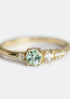 Tourmaline Diamond Cluster Ring | MinimalVS on Etsy