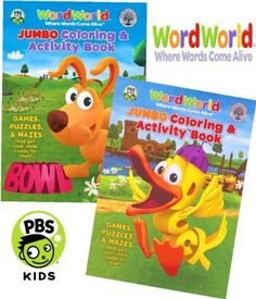 "WordWorld Jumbo Coloring and Activity Book Set (2 Coloring Books) by PBS Kids. $6.95. Set of 2 coloring books. Books measure approximately 8"" x 10.75"" and have about 96 pages.. Great gift for your favorite WordWorld enthusiast! This coloring and activity set will provide many hours of learning and fun!. Games, puzzles, mazes and coloring fun that get your child ready to read!. Delight WordWorld fan with this WordWorld Coloring and Activity book set.. A Department of Educ..."