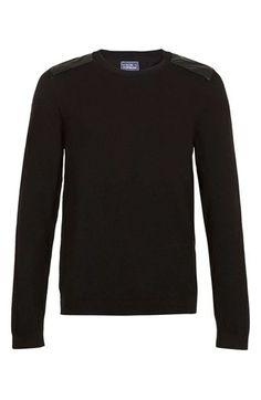 $60 Topman Faux Leather Panel Crewneck Sweater - Black