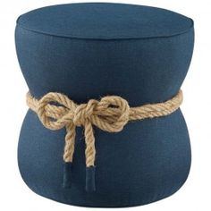 Beat Nautical Rope Upholstered Fabric Ottoman in Blue - East End Imports Description Usher in a new rhythm for your living space with the Beat Upholstered Fabric Nautical Rope Ottoman. Like the crisp ocean breeze of a nautical advent