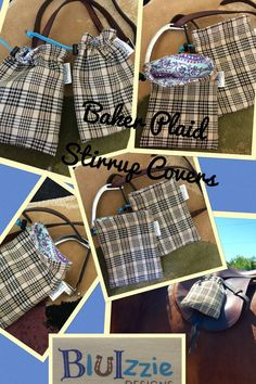 This is a handmade Stirrup Covers or individual gift bag made from Original Baker Plaid horse sheet which has been recycled and repurposed. All bags can be monogramed for an additional $10.00. It is a fully lined product with your choice of color, not design. No two bags are alike. Details : Product Detail: SIZE :10H X 8W *MATERIAL : ORIGINAL BAKER PLAID HORSE SHEET MATERIAL w/Interfacing. *QUALITY LINED COTTON INTERIOR. *QUALITY COTTON. *BRASS GROMMETS. *NYLON STRAPS. *MONOGRAMMABLE...