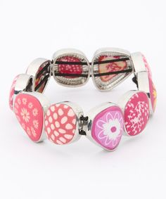 Love this Simply Pink & Yellow Abstract Stretch Bracelet on #zulily! #zulilyfinds
