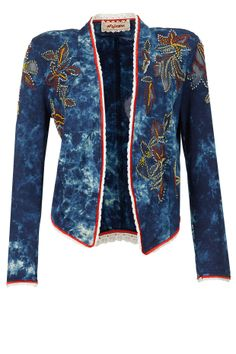 Blue tie and dye bead and patchwork jacket available only at Pernia's Pop-Up Shop.