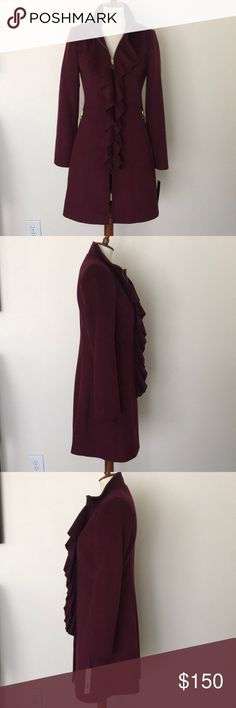 T Tahari Kendra ruffle from walking coat Absolutely beautiful T Tahari walking coat. Coat consists of 60% wool, 25% polyester, 10% viscose & 5% other fibers. Lining is a deep blue & is 100% polyester. Raspberry color. Coat has never been worn & still has tags & been stored in garment bag. Gold hardware. Two pockets with gold zippers with pulls being decorative ovals with a slightly deeper color compared to the coat. Tabs are stamped Tahari on the back sizs. Size 4. Fitted appearance achieved…