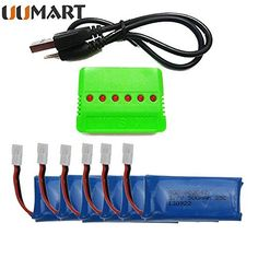 Click to open expanded view      UUMART 6PCS 3.7V 500mAh Battery With Charger For Hubsan X4 H107 H107L H107C H107D V252 JXD385 Syma x11