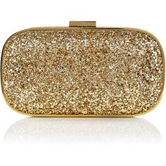Anya Hindmarch Gold Glitter Marano Clutch ($550) ❤ liked on Polyvore featuring bags, handbags, clutches, purses, bolsas, bolsos, women, box clutch, evening purse and gold purse