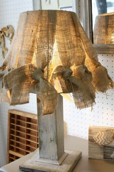 Coastal Charm blog...fun burlap treatment for a lampshade...no tutorial...pinning for future reference