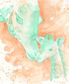 "8x10"" PRINT Giraffe Mom and baby peach and mint nursery decor PRINT of my watercolor painting, by Katrina Pete, nursery art, nursery prints"