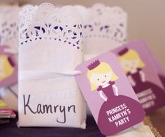 Princess Party Ideas - favor bags with a gift tag from #peartreegreetings to match the invitation. Adorable! #princess #birthday