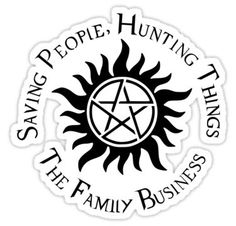 'Supernatural Family Business' Sticker by obsidiandream Supernatural Tattoo, Supernatural Memes, Print Tattoos, I Tattoo, Business Stickers, Crowley, Family Business, Drawing Sketches, Drawings
