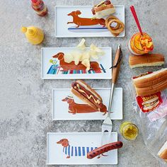 I NEED these!  #dachshund dog days of summer Claudia Pearson Dog Plates #WestElm