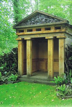 Folly… One of two classical oak temples in The Stumpery at Highgrove Gardens. The Stumpery is based on the Victorian concept of growing ferns amongst tree stumps. Temples were designed by I & J Bannerman. Garden Buildings, Garden Structures, Outdoor Structures, Garden Houses, Classical Architecture, Architecture Details, Highgrove Garden, Temple, Gazebo