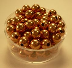 6mm  50 Pcs. Round COPPER SMOOTH BEADS Genuine by COPPERWIREUSA