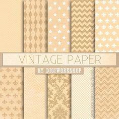 "Digital #Vintage Paper, Digital #Old Paper, Shabby Chic - ""Vintage Paper""  These…"