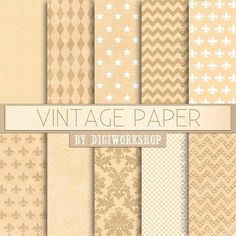 10 Digital Vintage Paper Digital Old Paper  by DigiWorkshop #etsy #digiworkshop #illustration #scrapbooking #creative #art #scrapbook #vintage #retro #antique #patterns