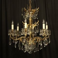 Antiques Atlas - Italian Gilt Bronze 6 Light Antique Chandelier
