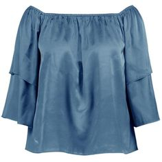 Boohoo Plus Emilie Satin Ruffle Off The Shoulder Top | Boohoo (279.300 IDR) ❤ liked on Polyvore featuring tops, blouses, satin ruffle blouse, off the shoulder blouse, blue top, off the shoulder tops and blue off the shoulder top