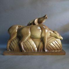 Art Deco ceramic figure group. Lemanceau France 1930.
