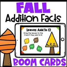 These fun Fall Boom Cards are for addition facts to 20. This deck includes 2 different styles of math boom cards. They are decorated with Fall themed leaves, trees and apples making them a fun Fall math activity for first grade, second grade or third grade. The first 11 cards have students find the leaves with the addition facts that add to the number on the card and drag them to the tree. The second 11 cards have students find the 2 apples that add to the number on the card. First Grade, Second Grade, Teaching Addition, Addition Facts, Math Classroom, Autumn Theme, Math Activities, Apples, Sunshine