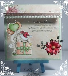 Handmade Christmas Card using Wild Rose Studio New Release Christmas 2015 products   which are Image - Teddy Behind Present Papers - Painted Poinsettias Downrightcrafty