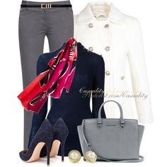 *PROFESSIONAL OUTFIT* BLACK D&B BAG - Grey ICO Uniform Pant, Cream Jacket, Navy Blue Blouse, Navy Blue Shoes, Scarf, Gold Watch, Gold Crown Bangle, Pearl Knob Earrings & Gold & Pearl Ring,