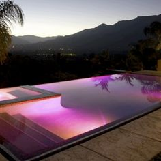 sunset reflected in a pool
