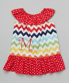 Look at this #zulilyfind! Red Zigzag & Polka Dot Initial Yoke Dress - Infant & Toddler by DressHerUp #zulilyfinds