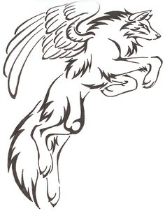Mystical/Fantasy Leaping Tribal Wolf Drawing with Wings tattoo