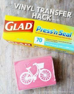 Vinyl Transfer Glad Press'n Seal Hack at artsyfartsymama.com