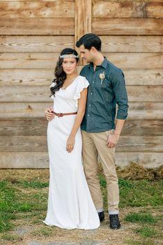 Simply Elegant Group Bohemian Prairie Wedding Inspiration. bride, outdoor, groom, casual, barn, style, casual hair, prairie grass, belt, laurel wreath headpiece, boho bridal beauty, outdoor, native
