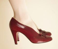 Vintage Oxblood Red Pumps in Italian Leather with by BasyaBerkman, $38.00