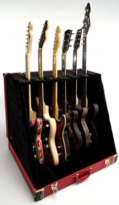 """Premium """"Red Levant"""" 6 Guitar Case- Folds to Briefcase! OUR BEST!"""
