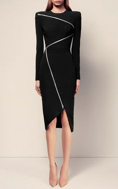 The Aislinn Satin Crepe Zip Long Sleeve Lady Dress by ALEX PERRY for Preorder on…