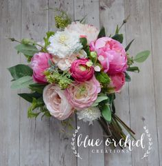 Country Bouquet - Dark Pink, Shabby Chic Bouquet, Wedding Bouquet, Peony Bouquet, Garden Bouquet, Wildflowers, Boho Bouquet by blueorchidcreations on Etsy