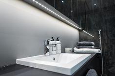 #LED #lightstrip #bathroom #sink #bw Strip Lighting, Interior Lighting, Sink, Led, Bathroom, Home Decor, Sink Tops, Washroom, Linear Lighting