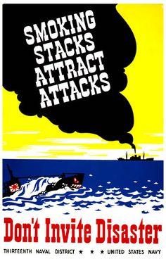 WPA Poster Art Smoking Stacks Attract Attacks War Effort Propaganda Poster 11x17