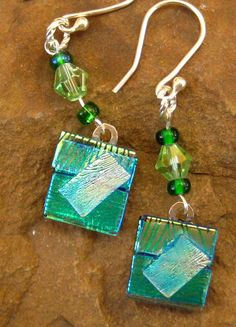 Dichroic Fused Glass Drop Earrings Green Goddess by GlassCat, $22.00