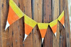 CANDY CORN shabby chic BURLAP banner for Halloween by LylaDee, $14.00