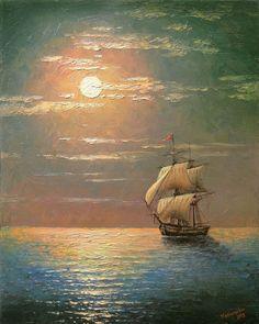 Mediterranean Night Ship~ Paintings Of Ships At Sea Ship Paintings, Seascape Paintings, Landscape Paintings, Pictures To Paint, Art Pictures, Sailboat Painting, Boat Art, Beginner Painting, Ship Art
