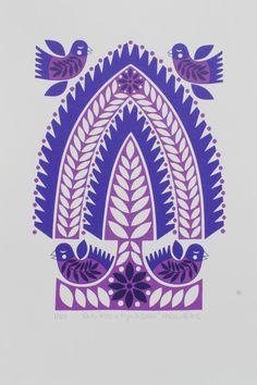 Karoline Rerrie - Purple Folk Tree & Flying Birds